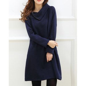 Navy Blue Turn Down Collar Sweater
