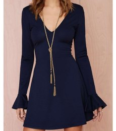 Navy Blue Flare Top